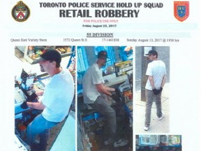 """A """"wanted"""" poster that Toronto Police issued for serial robber Codie Caissie."""
