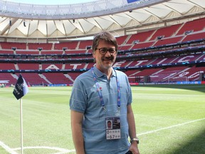 Emili Planas chief technical officer for Mediapro does a walk through around the pitch prior to the UEFA Champions League Final between Tottenham Hotspur and Liverpool at the Wanda Metropolitano Stadium in Madrid, Spain on June 1, 2019.