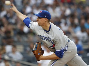 Blue Jays starter Aaron Sanchez pitches against the Yankees during first inning MLB action at Yankee Stadium in New York City on Monday, June 24, 2019.