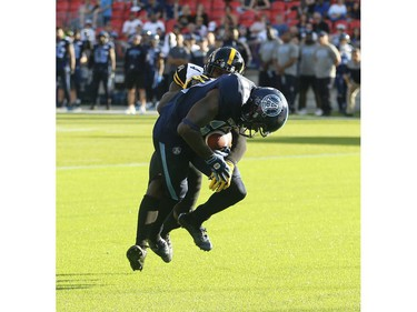Toronto Argonauts Armanti Edwards WR (10) scores a touchdown near the final minute of play during the fourth quarter in Toronto, Ont. on Saturday June 22, 2019. Jack Boland/Toronto Sun/Postmedia Network