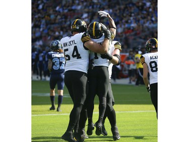 Hamilton Tiger Cats Tucker WR (15) celebrates the first touchdown of the game during the first half in Toronto, Ont. on Saturday June 22, 2019. Jack Boland/Toronto Sun/Postmedia Network