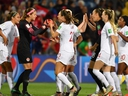 Canada's players celebrate at the end of their Women's World Cup match against Cameroon, on June 10, 2019, at the Mosson Stadium in Montpellier, France.