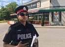 Peel police Const. Akhil Mooken speaks to media outside the Yorkshire Arms in Mississauga after Wednesday night's shooting.