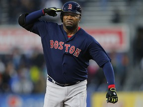 David Ortiz of the Boston Red Sox salutes as he round second base after hitting a home run against the New York Yankees at Yankee Stadium on May 6, 2016. (Rich Schultz/Getty Images)
