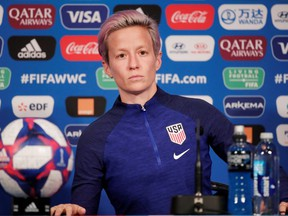 Megan Rapinoe of the U.S. during a press conference at the Parc des Princes on June 27, 2019.