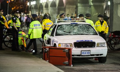 Toronto Police cruisers with smashed windows follwowingt the Toronto Raptors victory over the Golden State Warriors in the NBA Finals on Friday June 14, 2019. Ernest Doroszuk/Toronto Sun/Postmedia