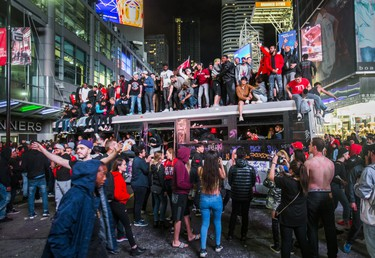 Fans fill the streets of downtown Toronto, Ont. celebrating the Toronto Raptors victory over the Golden State Warriors in the NBA Finals on Friday June 14, 2019. Ernest Doroszuk/Toronto Sun/Postmedia