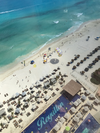 The beach view from the balcony at the Royalton Suites Cancun. (Michael Traikos)