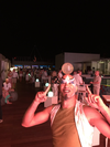 A circus performer entertains guests during the 'White Party' on the Sky Club rooftop lounge at the Royalton Suites Cancun. (Michael Traikos)