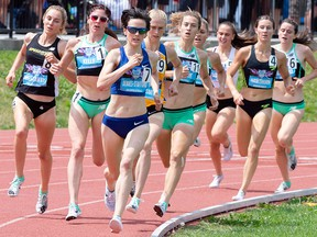 Gabriel Debues-Stafford (7) leads the pack to win the women's 1,500-metre race at the Canadian Championships in Montreal on Sunday, July 28, 2019. To Debues-Stafford's left are silver medallist Jenna Rae Westaway (8) and bronze medallist Mariah Kelly (1).