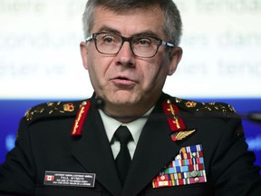 Lieutenant-General Paul Wynnyk, Vice Chief of the Defence Staff, speaks during a press conference in Ottawa on Wednesday, May 22, 2019.