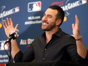American League starting pitcher Justin Verlander of the Houston Astros speaks during the All Star Press Conference at the Huntington Convention Center in Cleveland. (CHARLES LeCLAIRE/USA TODAY Sports)