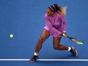 Serena Williams of the United States returns a shot during of her Women's Singles round three match against Karolina Muchova of the Czech Republic on day five of the 2019 US Open at the USTA Billie Jean King National Tennis Center on August 30, 2019 in Queens borough of New York City. (Emilee Chinn/Getty Images)
