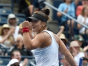 Bianca Andreescu reacts after winning a point against Sofia Kenin during the Rogers Cup tennis tournament at Aviva Centre. (Dan Hamilton/USA TODAY Sports)