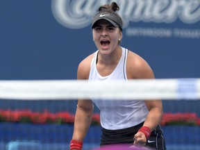 Bianca Andreescu reacts to winning a point against Sofia Kenin during Rogers Cup semifinal action at Aviva Centre in Toronto, on Saturday, Aug. 10, 2019.