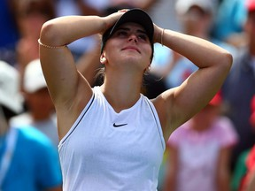 Bianca Andreescu reacts after defeating Sofia Kenin following a semifinal match on Day 8 of the Rogers Cup at Aviva Centre in Toronto on Saturday, Aug. 10, 2019.