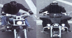 Police CCTV catches the masked killers on their Harleys on a date with death. PASCO SHERIFF