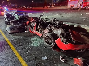 The remains of a Corvette and Mazda after a fiery crash on Hwy. 401 late Aug. 11, 2019. (OPP_HSD)
