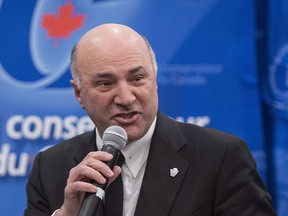 Conservative leadership candidate Kevin O'Leary addresses a Conservative Party leadership debate Monday, February 13, 2017 in Montreal. O'Leary says he won't take part in Tuesday's official party debate in Edmonton, citing the format. (THE CANADIAN PRESS/Paul Chiasson)