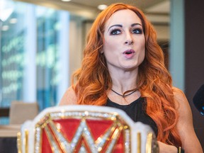 WWE Raw Women's Champion Becky Lynch speaks to members of the media.