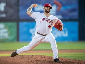 Blue Jays 2019 first-round pick Alek Manoah brings the heat for the Vancouver Canadians. MARK STEFFENS/VANCOUVER GIANTS PHOTO