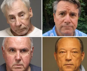 Daniel Dobbins, 67 (top left), Charles Ardito, 75, (bottom left), John Linartz, 62 (top right), and Otto Williams, 62 (Bottom left) were among the six nabbed for alleged group sex in a Connecticut park. FAIRFIELD POLICE