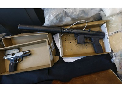 York Regional Police unveiled drugs (meth, cocaine, fentanyl, cannabis bound for U.S.), weapons (Ruger, left and Tec-9 with a silencer) and proceeds of crime during two unrelated Projects called Zen and Moon targeting organized crime arresting 49 people on Thursday August 8, 2019. Jack Boland/Toronto Sun/Postmedia Network