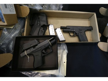 York Regional Police unveiled drugs (meth, cocaine, fentanyl, cannabis bound for U.S.), weapons and proceeds of crime during two unrelated Projects called Zen and Moon targeting organized crime arresting 49 people on Thursday August 8, 2019. Jack Boland/Toronto Sun/Postmedia Network