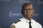Toronto Police Chief Mark Saunders responds to reporters questions about the city's gun violence at a press conference at headquarters on Friday, Aug. 9, 2019. (Stan Behal/Toronto Sun/Postmedia Network)