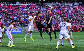 Fury midfielder Jeremy Gagnon-Lapare goes up for a ball against Toronto FC in its Canadian Championship    first-leg semifinal match last night in Ottawa.   Steve Kingsman/Freestyle Photography for Ottawa Fury FC