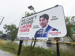 A billboard critical of Canadian Prime Minister Justin Trudeau along Cawthra Rd., near Queensway E., in Mississauga, Ont. on Tuesday August 27, 2019. (Ernest Doroszuk/Toronto Sun/Postmedia)