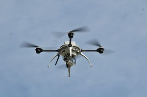 An Aeryon Labs Inc. live streaming video-drone,  similiar to that currently  in use by the Libyan rebels to gather information on Gaddafi's forces, is flown at their Waterloo, Ontario production facility, August 23, 2011. (J.P. Moczulski for National Post)