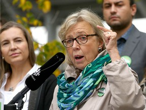 Green Party leader Elizabeth May gestures as she speaks during a campaign stop outside Sunalta LRT station near downtown Calgary on Friday, September 20, 2019. The party unveiled a plan to revamp transportation. (Jim Wells/Postmedia)