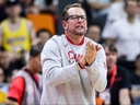 Nick Nurse coach of Canada in action during the 2019 FIBA World Cup, first round match between Canada and Australia at Dongguan Basketball Center on Sept. 1, 2019 in Dongguan, China. (Zhizhao Wu/Getty Images)