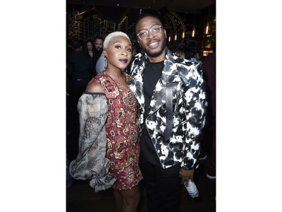 Cynthia Erivo (L) and Zackary Momoh attend Entertainment Weekly's Must List Party at the Toronto International Film Festival 2019 at the Thompson Hotel on Sept. 7, 2019 in Toronto.