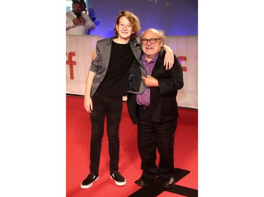 """Misha Handley and Danny DeVito attend """"The Song of Names"""" premiere during the 2019 Toronto International Film Festival at Roy Thomson Hall on Sept. 8, 2019, in Toronto."""