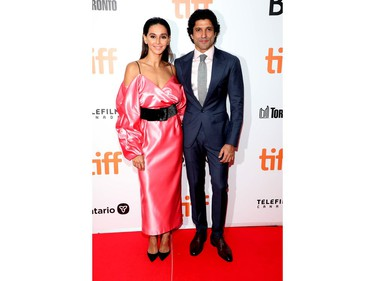 """Shibani Dandekar and Farhan Akhtar attend """"The Sky Is Pink"""" premiere during the 2019 Toronto International Film Festival at Roy Thomson Hall on September 13, 2019 in Toronto, Canada."""