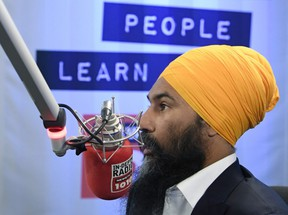 NDP Leader Jagmeet Singh takes part in a radio interview in Toronto, Thursday September 19, 2019. THE CANADIAN PRESS/Adrian Wyld
