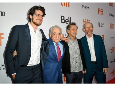 """(L-R) Daniel Roher, Martin Scorsese, Brian Grazer and Ron Howard arrive for the Opening Night Gala presentation of """"Once Were Brothers: Robbie Robertson and The Band"""" during the Toronto International Film Festival, on Sept. 5, 2019, in Toronto."""