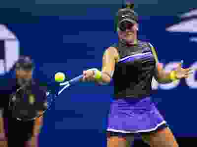 Bianca Andreescu hits a return to Belinda Bencic during their U.S. Open semifinal at the USTA Billie Jean King National Tennis Center in New York on September 5, 2019. (JOHANNES EISELE/AFP/Getty Images)
