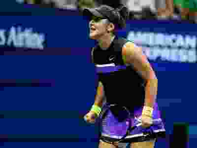 Bianca Andreescu of Canada celebrates a point during her Women's Singles quarterfinal match against Elise Mertens of Belgium on day ten of the 2019 US Open at the USTA Billie Jean King National Tennis Center on September 4, 2019 in the Queens borough of New York City. (Al Bello/Getty Images)
