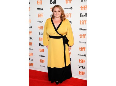 """Actor Danielle Macdonald poses during a special presentation of the biopic about singer Helen Reddy, """"I Am Woman,"""" at the Toronto International Film Festival (TIFF),  in Toronto, Sept. 5, 2019."""
