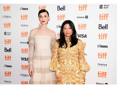 """Actor Tilda Cobham-Hervey and director Unjoo Moon pose as they arrive for a special presentation of the biopic about singer Helen Reddy, """"I Am Woman"""" at the Toronto International Film Festival (TIFF), in Toronto, Sept. 5, 2019."""