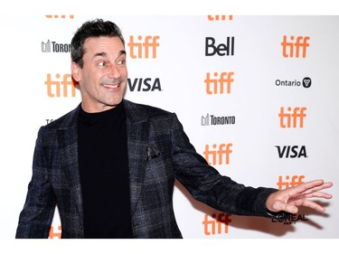 """Jon Hamm gestures during the Canadian premiere of """"The Report"""" at the Toronto International Film Festival in Toronto, Sept. 8, 2019."""