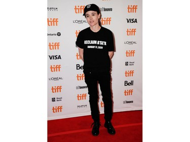 """Ellen Page arrives at the Canadian premiere of """"There's Something In The Water"""" at the Toronto International Film Festival in Toronto, Sept. 8, 2019."""