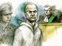 Alek Minassian  Justice of the Peace Stephen Waisberg 1000 Finch Ave. w. Court April 24, 2018 Sketch by Pam Davies