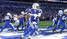 Indianapolis Colts quarterback Jacoby Brissett runs out of the pocket and in the end zone against the  Denver Broncos last week. (USA TODAY SPORTS)