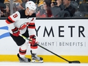 Taylor Hall of the New Jersey Devils controls the puck in the third period against the Boston Bruins at TD Garden on October 12, 2019 in Boston, Massachusetts.