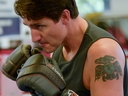 Liberal Party leader and Canadian Prime Minister Justin Trudeau trains with boxer Ali Nestor (not pictured) during an election campaign visit in Montreal on Oct. 2, 2019. (Reuters)