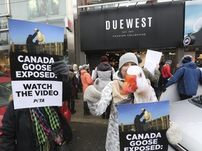 PETA supporters are pictured at a protest outside Canada Goose retailer Due West on Queen St. W.  on Nov. 18, 2017. (Stan Behal, Toronto Sun)
